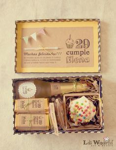 Happy Birthday Box–Champagne split, cupcake w/candle, candy bars, etc. all decorated with custom labels. Birthday Box, Birthday Gifts, Happy Birthday, Birthday Favors, Craft Gifts, Diy Gifts, Lola Wonderful, Ideias Diy, Party In A Box