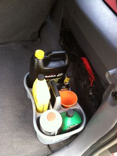 11. Use a shower caddy to keep all of your spare fluids in one clean place. | Hit the Open Road With These 25 Hacks for the Best Road Trip Ever