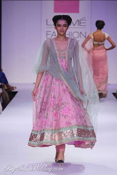 """Designer Anushree Reddy presented her collection, """"The Tale of a Bow,"""" at Lakmé Fashion Week Summer/Resort Soft feminine pinks, mint greens and creams were sent down the runway in an assortment of lehngas, saris and anarkalis. Indian Fashion Trends, Asian Fashion, Indian Attire, Indian Wear, Indian Style, Indian Dresses, Indian Outfits, Desi Wear, Lakme Fashion Week"""