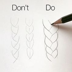 "101.8k Likes, 738 Comments - Silvie Mahdal (@silviemahdal_art) on Instagram: ""Basic tips for drawing correct proportions of a braid: 1) draw basic shape; 2) draw zig-zag line…"""