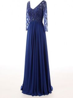 Charming A-Line V-Neck Long Sleeves Beadings Floor-Length Evening Dress