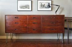 Try to do a diy with the tarva chest from ikea and order hairpin legs online.