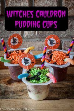 Witches Cauldron Pudding Cups are the perfect Halloween snack for your kids or your Halloween party! #SnackPackMixins #shop | halloween food | desserts | treat | dessert crafts | Halloween |