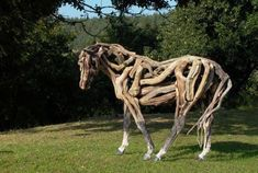 {Driftwood Horse Sculptures Recycled Art Wood Organic|Driftwood Horse Sculptures Recycled Art Wood