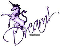 Dream Purple Unicorn Glitter Graphic, Greeting, Comment, Meme or GIF