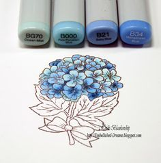 Embellished Dreams: Blue Hydrangea Card - Bazzill Basics Paper - Card Shoppe Paper