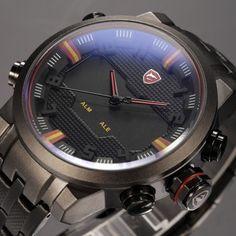 Sawback Angel SHARK Dual Time Digital LED Date Day Display Analog Black Red Stainless Steel Strap Men Quartz Sport Watch / SH197