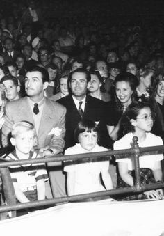 """Robert Taylor, Henry Fonda and Barbara Stanwyck at the circus"""