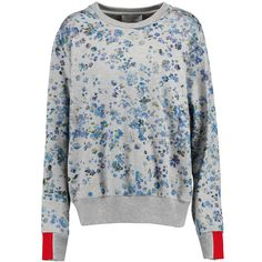 Preen by Thornton Bregazzi Gaspar printed cotton-jersey sweatshirt featuring polyvore, fashion, clothing, tops, hoodies, sweatshirts, blue, loose fit tops, blue sweatshirt, blue top, sweatshirt hoodies and sweat tops