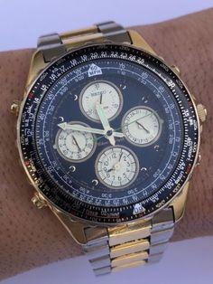 635ea3b626f8 VINTAGE SEIKO 7T34-6A00 FLIGHTMASTER CHRONOGRAPH 2 TONE GOLD MEN S WATCH
