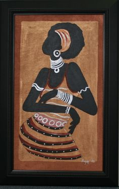African Original Painting Xhosa Modern Tribal Woman III Acrylic on Silk Framed in Black X - Cultures International From Africa To Your Home African Room, African House, African Artwork, African Theme, African Paintings, African Interior, African Home Decor, African Furniture, Xhosa