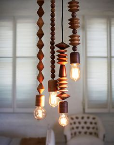Bright Beads Wood Pendant Lamps from Australian Designer Coco Reynolds
