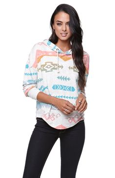 Lightweight Pullover Hoodie.  Like this with the tribal print and the scalloped hem.