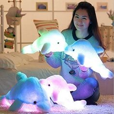 Supper Cute Dolphin Design Little Stuffed Toys - Sparkling Plush Toy with LED Light 45CM - Brought to you by Avarsha.com