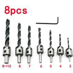 7 unids avellanado juego de brocas hss 5 flauta fresa chaflán de madera taladro avellanado tornillo de fijación de acero de perforación de cambio rápido para trabajar la madera