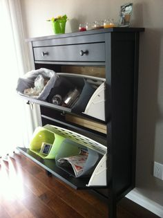 We turned a IKEA shoe cabinet into some garbage/recyclables sorters. #garbage boxes ideas #cabinet
