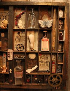 Curio Closeup 3 by `asunder on deviantART Shadow Box Kunst, Shadow Box Art, Altered Boxes, Altered Art, Cubbies, Letterpress Drawer, La Danse Macabre, Printers Drawer, Found Object Art