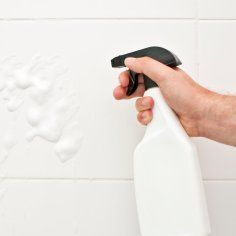 Daily shower cleaner spray. The one using dishwasher rinse aid works great. Scroll down further for a recipe/technique to make a concentrate to keep on hand.