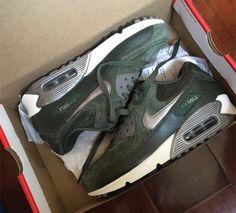 19d518288b9c Nike Air Max 90 LTHR NSW Running Shoes Carbon Green Metallic Pewter