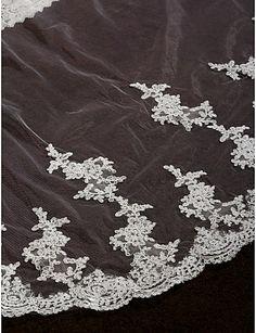 Wedding Veils Women's Elegant Tulle One-tier Lace Applique Edge Veils – AUD $ 35.74