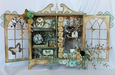 Other: Altered Scrapmatts Cabinet.maybe use old ma. Altered Canvas, Altered Art, Altered Tins, Paper Structure, Altered Cigar Boxes, Collages, Scrapbooking, Home And Deco, Canvas Pictures
