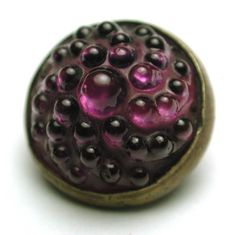 Antique Glass in Metal Button Purple Color Swirl Candy Mold in Brass Back