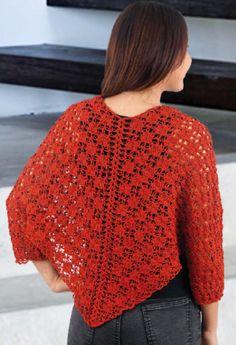 ¿Cómo tejer una capa calada? - Tejemania Crochet Poncho Patterns, Crochet Jacket, Crochet Shawl, Crochet Top, Crochet Clothes, Fabric Flowers, Womens Fashion, Sweaters, Crochet Cape