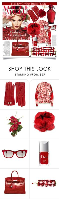 """""""Holiday Gift Guide: Rudolf Says Red"""" by maxfield ❤ liked on Polyvore featuring Salvatore Ferragamo, Nearly Natural, Diesel, Alain Mikli, Christian Dior, Hermès, Chanel, MICHAEL Michael Kors, giftguide and red"""