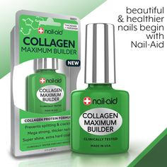 COLLAGEN MAXIMUM BUILDER An intensive high-protein treatment that uses collagen, the connective tissue of nails, to strengthen and thicken thin, brittle nail layers. • Prevents splitting & cracking. • Mega strong, ridge-free, thicker nails in just 3 days. • Extreme shine manicures that last up to 2 weeks. • Dries instantly to a long-lasting hard coating. #nailpolish #nailaid #nailcare #manicure #nailart #nailstagram #nail #nails #happythursday #thursday #felizjueves #naturalnails…