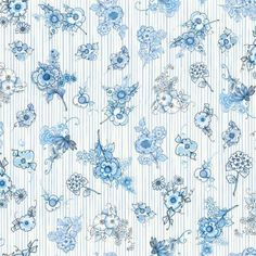 Quilting Treasures Flora Bleu by Loralie Bloomers Stripe