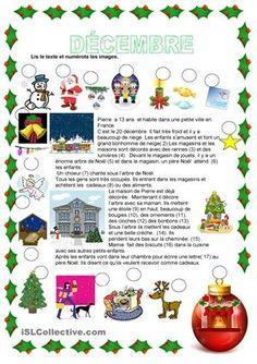 C'est un texte sur Noël que les élèves doivent lire et numéroter les images. Ils doivent aussi répondre aux questions sur le texte.Si vous aimez cette fiche, vous pouvez en trouver d'autres sur le même sujet ici :https://fr.islcollective.com/mypage/resources?Tags=Noel&searchworksheet=GO&type=Printables& id=5163 - Fiches FLE