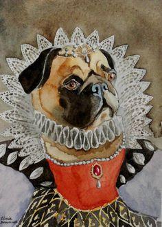Custom Portrait Large Watercolor Pet with Costume or Theme image 3 Unique Animals, Cute Animals, Pugs, Old Pug, Animal Dress Up, Dog Artwork, Pug Art, Vintage Dog, Dog Paintings