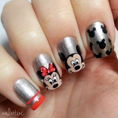 Latest 45 Easy Nail Art Designs for Short Nails 2016 And these sexy Latest Easy Nail Art Designs for Short Nails 2016 will make your cute nails the next most beautiful thing on earth after you. Disney Nail Designs, Nail Art Designs 2016, Simple Nail Art Designs, Easy Nail Art, Fancy Nails, Love Nails, Pretty Nails, My Nails, Mickey Mouse Nail Art