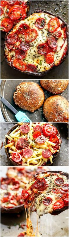10-Minute Portobello Pizzas - These have ALL the flavors of a GOOD pizza without the guilt! These pizzas are quick and easy to make, low carb and ready in 10 minutes!