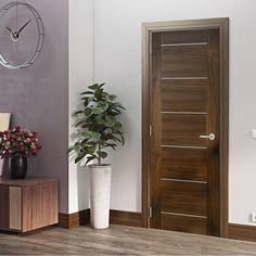 Valencia Walnut Door, Prefinished. #valenciadoor #moderndoor #walnutdoor Contemporary Doors, Modern Door, Walnut Doors, Door Fittings, Flush Doors, Internal Doors, Door Design, Valencia, Tall Cabinet Storage