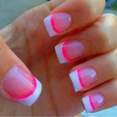 Cute French nails with a strip of pink!!! ( I think strip of green would be cuter)