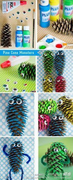 #knutselen met #kinderen: #DIY : popje van dennenappel