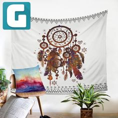 Dream Catcher Tapestry Printed Bohemian Wall Covering Rectangle, Polyester Hand Wash,Machine Washable Size: Comes in Two Sizes Bohemian Tapestry, Bohemian Art, Feather Dream Catcher, Dream Catcher Boho, Hanging Art, Tapestry Wall Hanging, Wall Hangings, Watercolor Dreamcatcher, Dreamcatcher Feathers