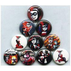 HARLEY QUINN - PINS BUTTONS BADGES (joker batman logos mad love animated series)