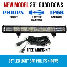 This LED Light Bar has 4 rows of Philips LEDs. With a 10 degree spot beam combo, it makes for an incredible lighting solution anytime, anywhere. Waterproof Led Lights, Night Driving, Rainy Weather, Led Light Bars, Extreme Weather, Power Cable, Lighting Solutions, Bar Lighting, Low Lights