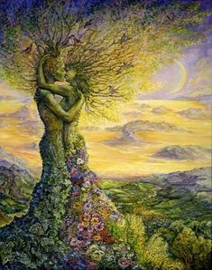 Nature's Embrace - Josephine Wall (born is a popular English fantasy artist. Josephine Wall, Tree Art, Tree Of Life Artwork, Mother Earth, Mother Nature, Nature Nature, Urban Art, Fantasy Art, Cool Art