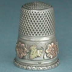 Antique French Silver Thimble w 2 Color Gold Band Circa 1890