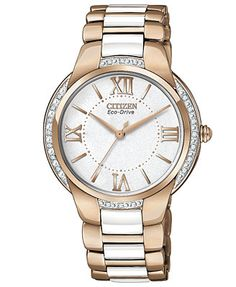 Citizen Women's Eco-Drive Ciena Diamond Accent White Ceramic and Rose Gold-Tone Stainless Steel Bracelet Watch 35mm EM0173-51A