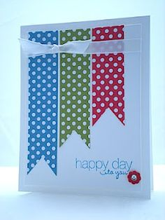 Polka Dot parade DSP, Friendly Phrases stamp set in Marina Mist and itty bitty flower punch with rhinestone. ARTfelt Impressions