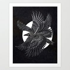 Moonlight Raven Art Print by BioWorkZ - $16.00