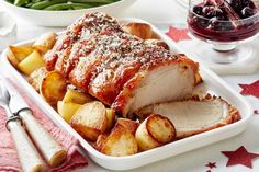Create the ultimate Christmas main with this crispy roast pork served with a spiced cherry port sauce. For easy slicing, turn the roast down on the crackle side and slice. Christmas Roast, Christmas Lunch, Xmas, Christmas Cooking, Christmas Recipes, Pork Roll, Potato Snacks, Cherry Sauce, Delicious Dinner Recipes