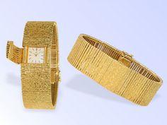 Armbanduhr: vintage Rarität, Ebel Cocktailuhr, 18K Armband mit versteckter Uhr, ca.1960 Ca. 18cm la
