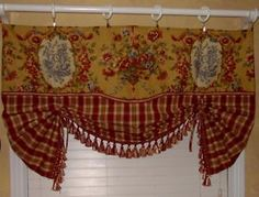 French Country Kitchen Curtains On Scalloped Valance Curtain French Country  Rooster Toile Red Gold Plaid | Blogs | Pinterest | Country Kitchen Curtains,  ...