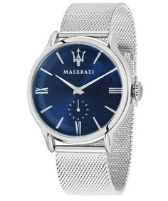 Features: Stainless Steel Case Stainless Steel Mesh Bracelet Quartz Movement Caliber: VD78A Mineral Crystal Blue Sunray Dial Analog Display Screw Down Crown Solid Case Back Deployment Clasp 100M Water Resistance Approximate Case Diameter: 42mm Approximate Case Thickness: 9.7mm Maserati Ghibli, Maserati Car, Maserati Quattroporte, Maserati Levante, Mesh Bracelet, Stainless Steel Mesh, Well Dressed Men, Silver Man, Fashion Watches