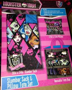 Monster High Slumber Set Sleeping Bag Tote and Pillow NEW With Tags